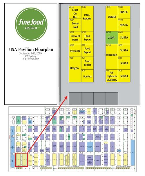 Fine Food Australia USA Pavilion floorplan
